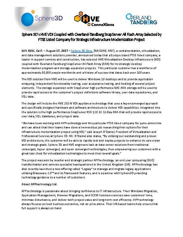 Sphere 3D's HVE VDI Coupled with Overland-Tandberg SnapServer All Flash Array Selected by FTSE Listed Company for Strategic Infrastructure Modernization Project