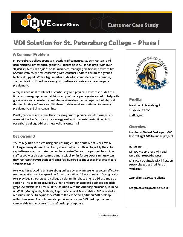 VDI Solution for St. Petersburg College - Phase I